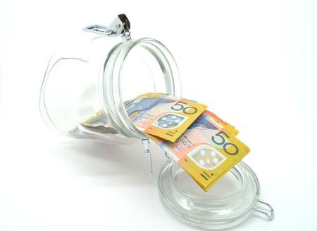 Some Australian money in the jar