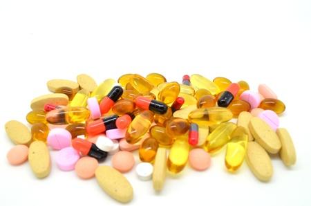 Many types of medicine isolated on white background Stock Photo