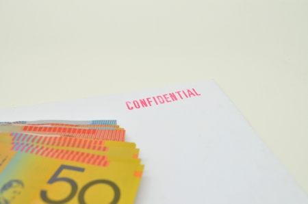 Money and the confidential data Stock Photo