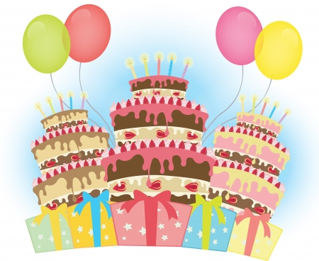 Delicious cake with candles, balloons and gift boxes Illustration