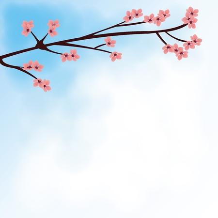 Sakura in the sky background for notepad