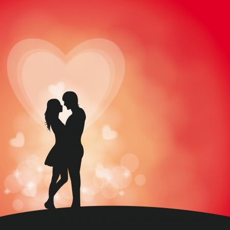romantic couple in vector background Vector