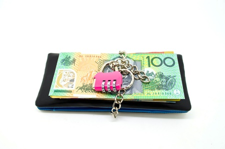 black leather wallet with lock and some banknote, concept for money savings photo