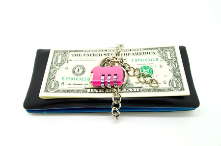 black leather wallet with lock and some banknote, concept for money savings