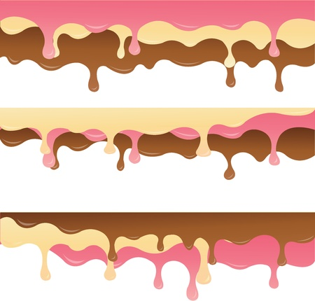 melted chocolate, vanilla and strawberry Vector