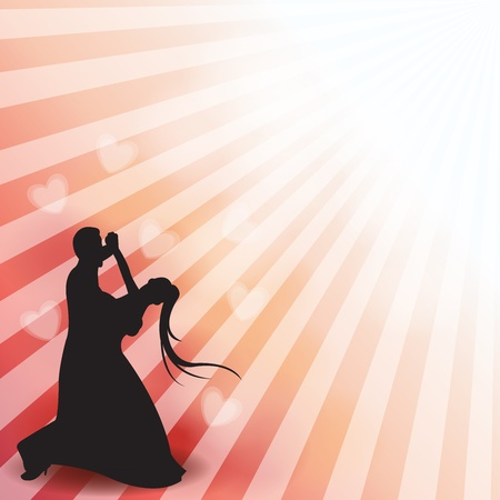 A silhouette of a dancing couple Vector