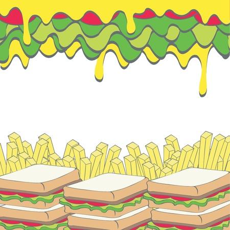 salatdressing: Sandwiches mit Gem�se und Pommes frites franz�sisch