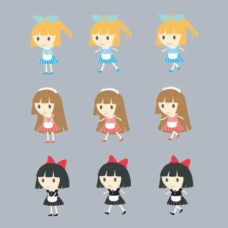 cute maid in various actions