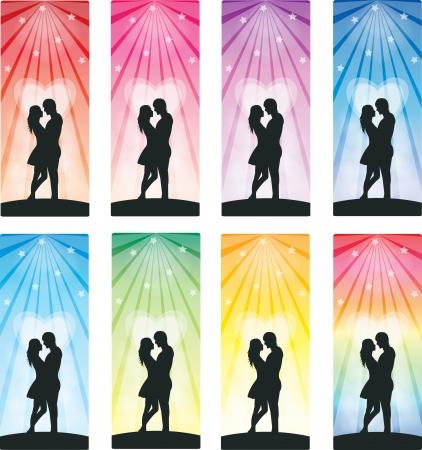 set of lovely couple bookmarks Illustration