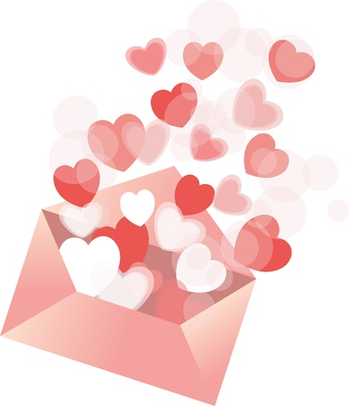 lots of hearts are rising from the envelope Illustration