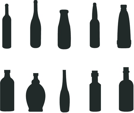 silhouette of various bottles Vector