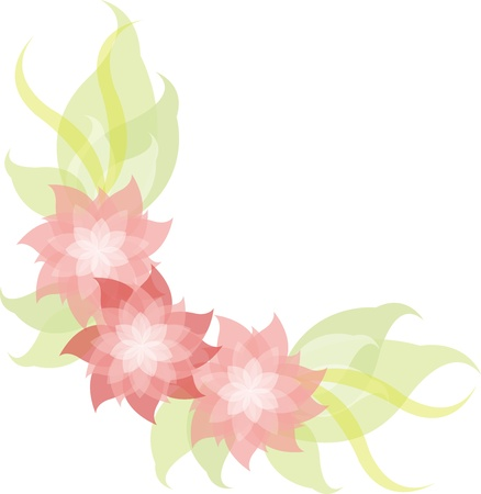 pink floral and green leave