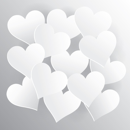 hearts on white paper with shadow, created by vector