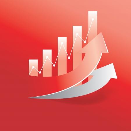 staaf diagram: toenemen pijl en een staafdiagram