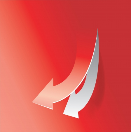 collapsing: move down arrow in red background Illustration