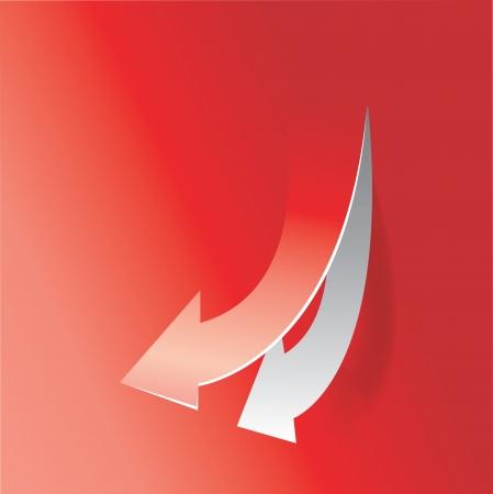 nach unten bewegen Pfeil in rotem Hintergrund Vektorgrafik