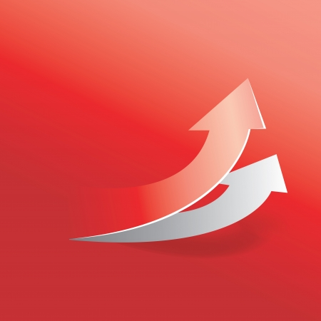 move up arrow in red background Illustration