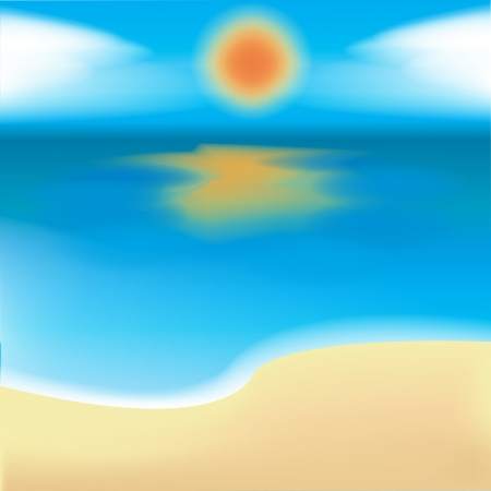 sea, sand and sun in vector