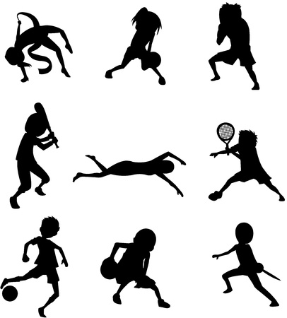 silhouette of nine sports