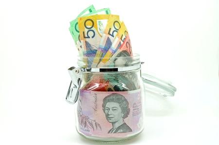 Jar of some Australian money Stock Photo