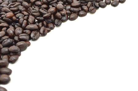 brew house: coffee beans on white background