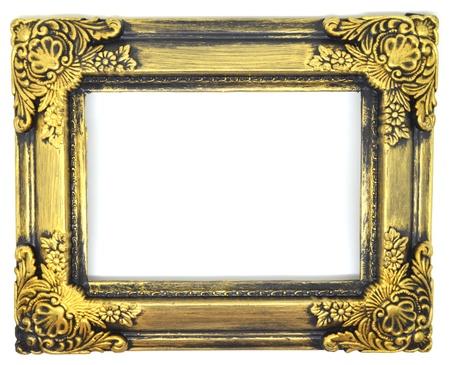 gold vintage frame on white background