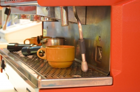 coffee maker machine in a coffee shop Stock Photo