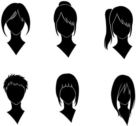 set of women s haircut design Banco de Imagens - 21258553