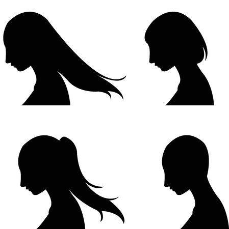 set of women s haircut design Ilustração