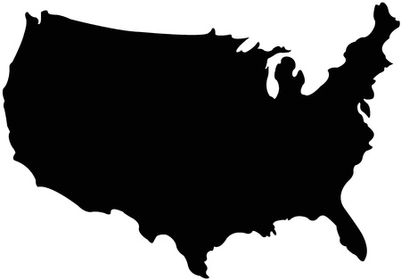 USA map in silhouette version Vector