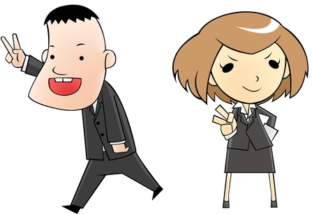 business people in cartoon version Vector
