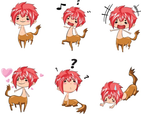 boy wearing an animal-like costume in various actions Ilustração