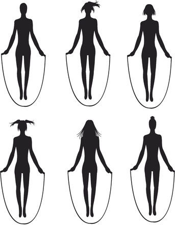 silhouette of jumping woman Illustration