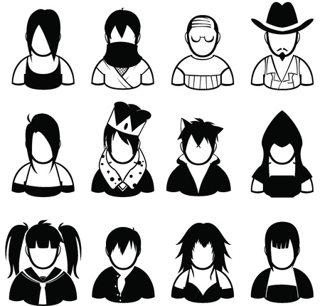 set of people icon in various uniform