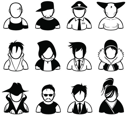 set of people icon in various uniform Vector
