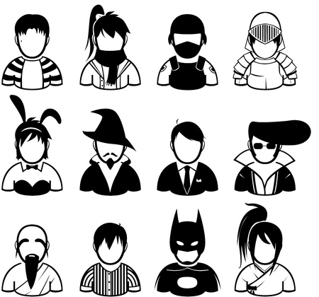set of people icon in fashionable dress Vector