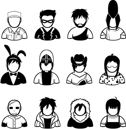 set of people icon in fashionable dress Illustration
