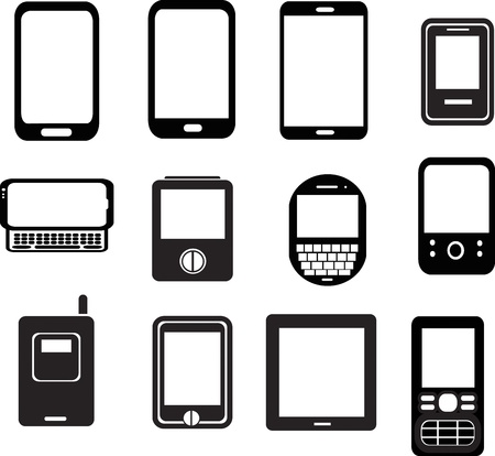 set of mobile phone icons  Illustration