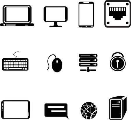 set of computer equipment icons Illustration