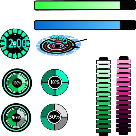 set of battery charger  icons Illustration