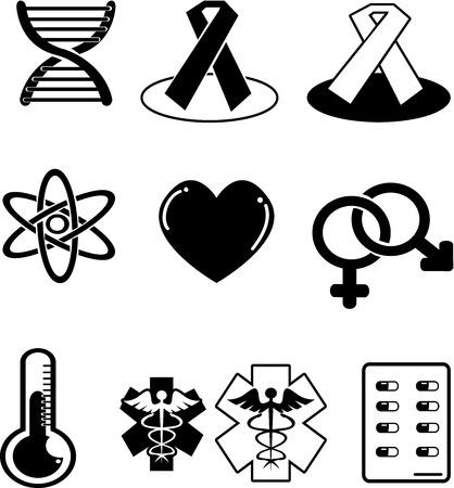hospitalization: set of medical icons