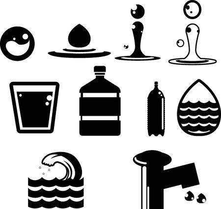 water icon collection created in vector format Ilustração