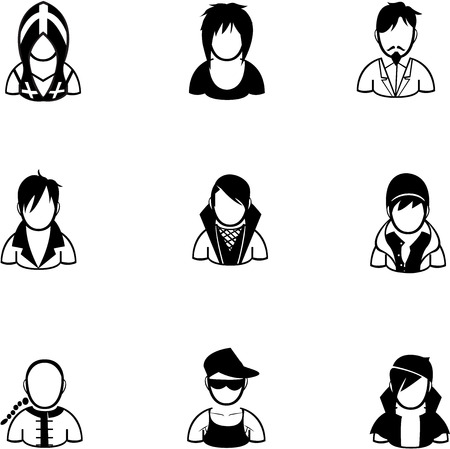 bald girl: silhouette of people icon created in vector format