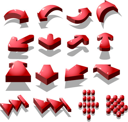 set of red arrow icon, created by vector Illustration