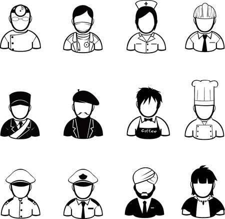 occupation icons and people Icons created in vector format Vector