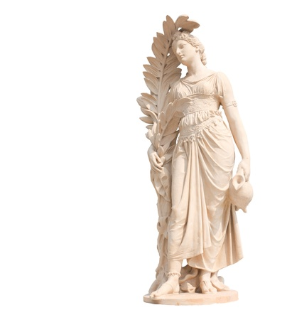 Ancient statues of women on white background photo