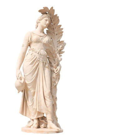 Ancient statues of women on white background