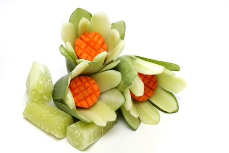 Carved vegetables the art of Thailand on white background photo