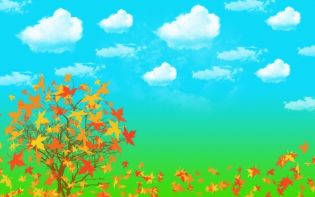 Abstract background maple tree and blue sky photo