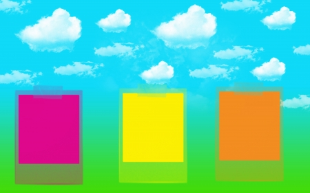 block note: Abstract background clouds sky and note block colorful Stock Photo